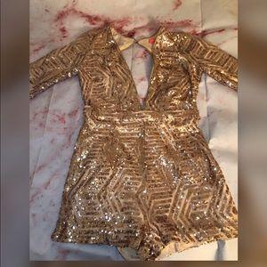 Rose Gold Sequins Romper